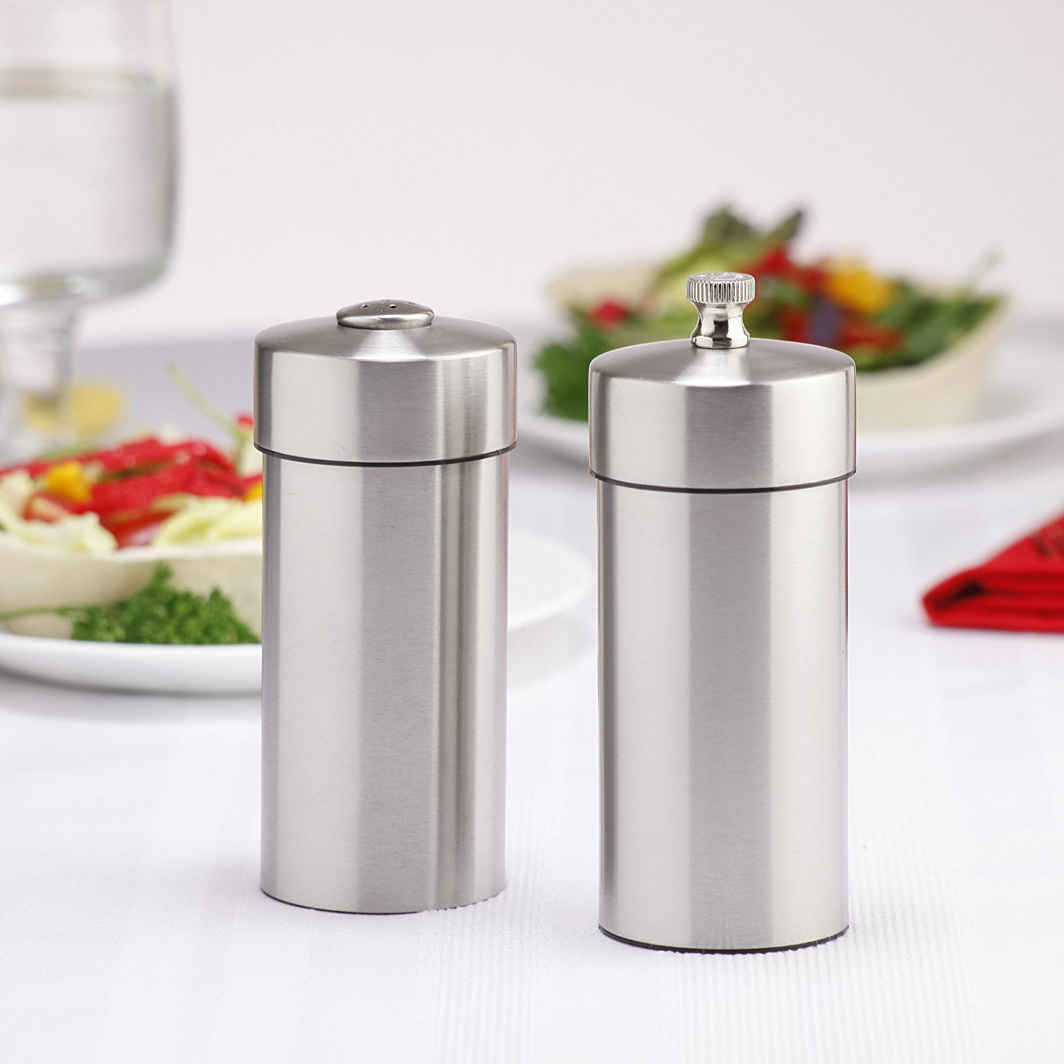 Chef Specialties 29900 5. 5 Inch 14 cm FuturaBrushed Stainless Pepper Mill Salt Shaker Set by Chef Specialties Company