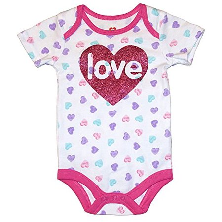 Assorted Love & Heart Boys & Girls Valentine's Day Bodysuit Outfit (Newborn, Love Candy Hearts Pattern) - Zombie Diy Outfit