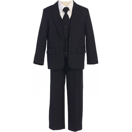 Sweet Kids Boys Black Button Jacket Vest Shirt Tie Pant Suit 8-20 Husky