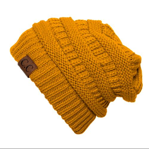 Thick Knit Soft Stretch Beanie Cap - Mustard