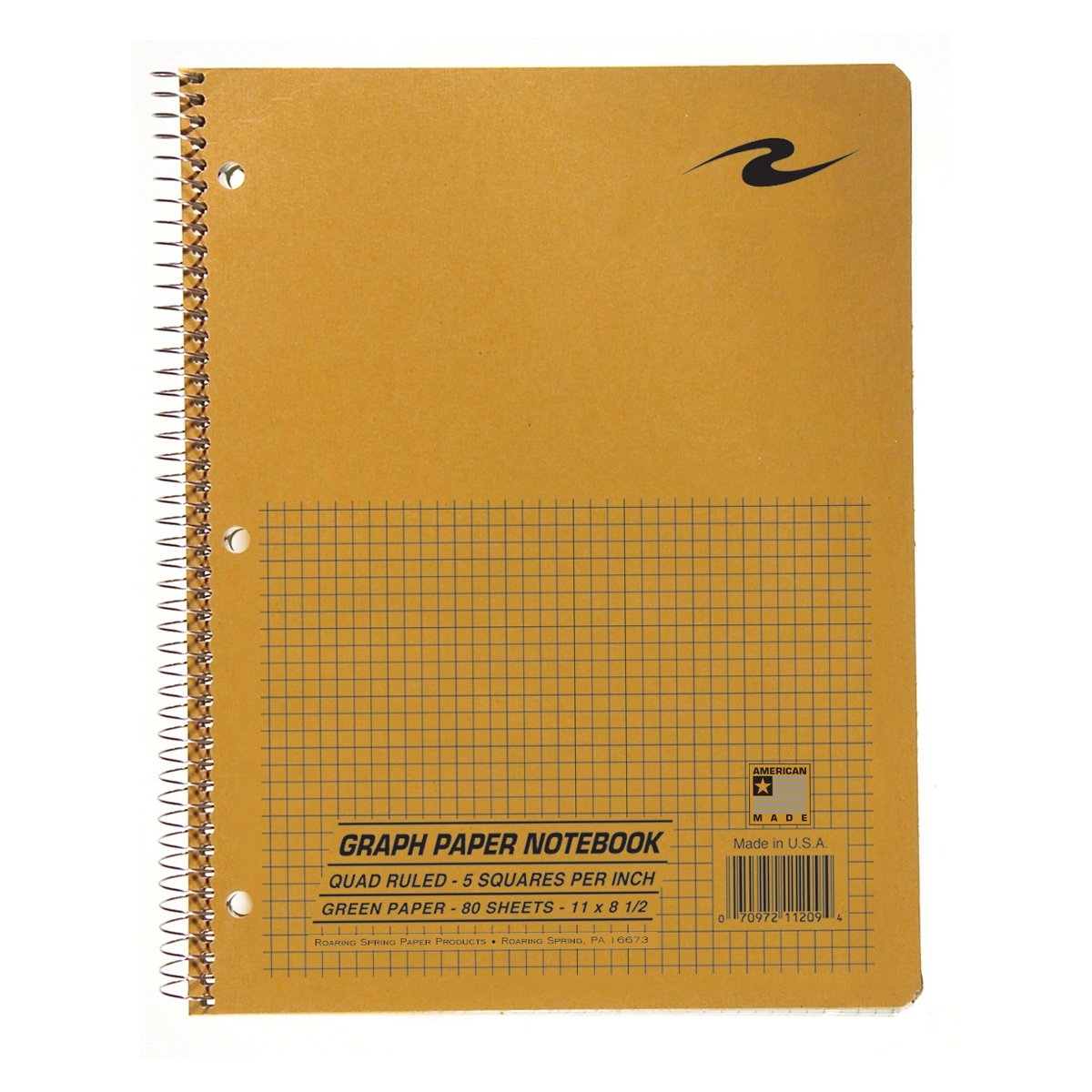 "WB NOTEBOOK GREEN PAPER 11""x8.5"" 5X5 GRAPH RULED BROWN COV"