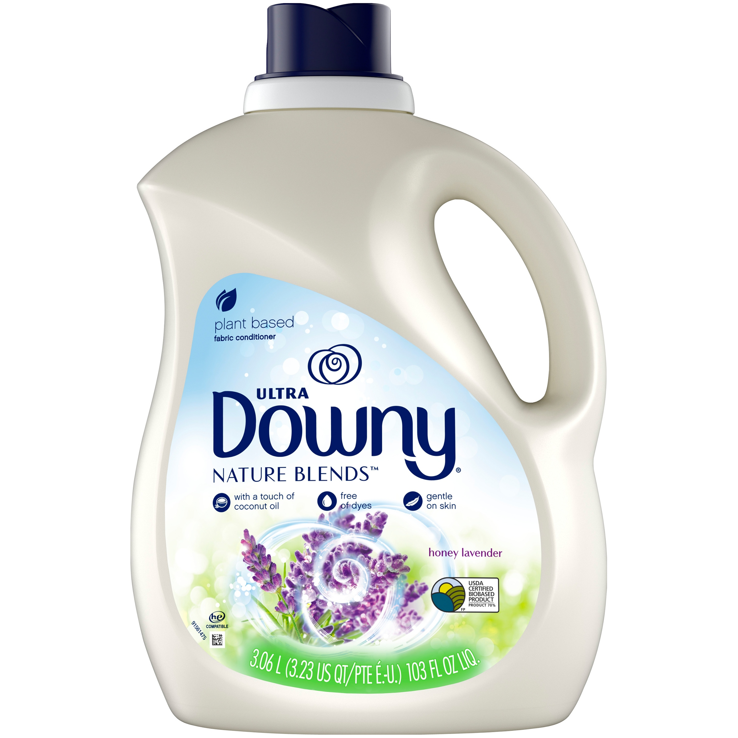 Downy Nature Blends Liquid Fabric Conditioner (Fabric Softener), Honey Lavender, 120 Loads 103 fl oz
