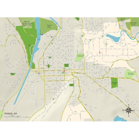 Political Map of Ithaca, NY Print Wall Art