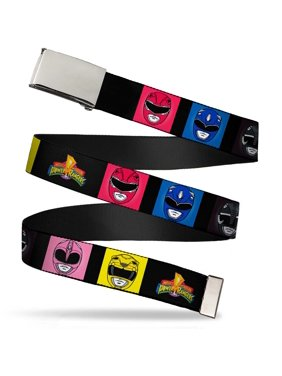 "Blank Chrome 1.0"" Buckle Power Rangers Face Blocks2 Mmpr Logo Webbing Web Web Belt 1.0"" Wide"
