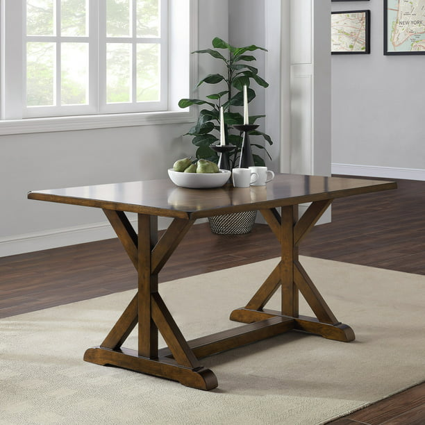 Better Homes & Gardens Granary Modern Farmhouse Dining Table, Dark Brown