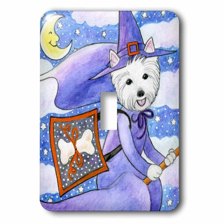 3dRose West Highland Terrier Westie Westie in costume witch Halloween Halloween Westie dog - Single Toggle Switch (lsp_23301_1) - Highland Heights Halloween