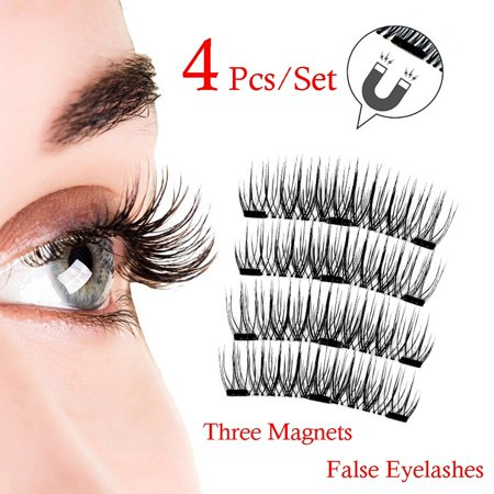 4PCS New Natural 3D Long 4 Magnetic Eyelash Eyelashes Makeup Handmade Sparse Eye Lash Extension Soft