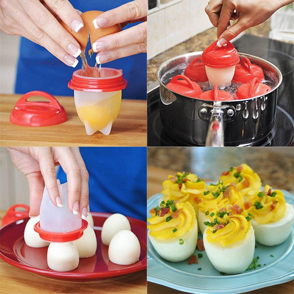 Egg Cooker Hard & Soft Maker Egg Cooking Cups No Shell Non Stick Silicone Poacher Boiled Steamer Egg Mould Breakfast Cooking Tool,red