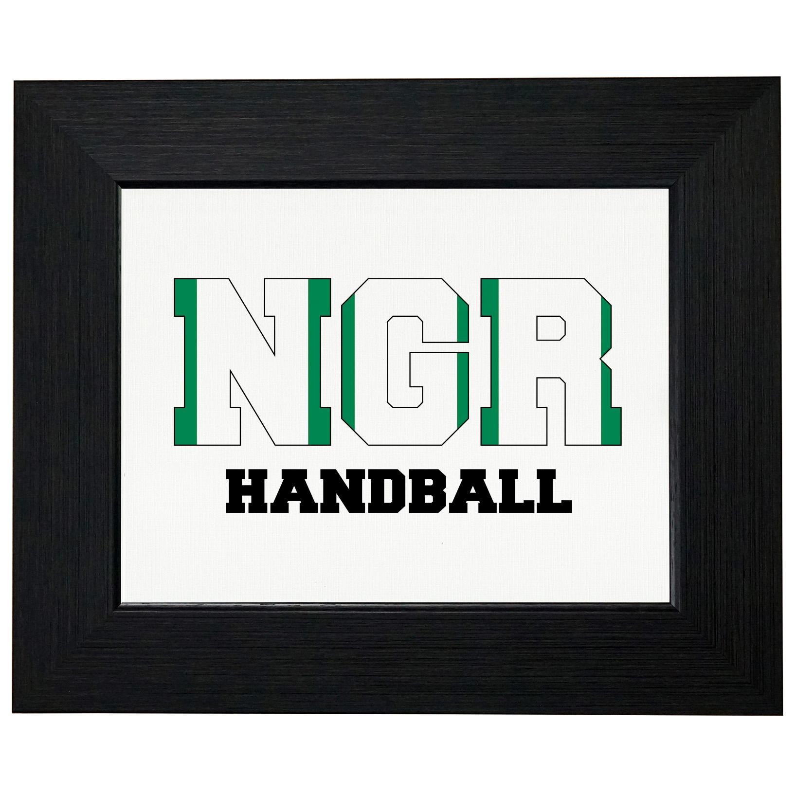 Nigeria Handball Olympic Games Rio Flag Framed Print Poster Wall or Desk Mount Options by Royal Prints