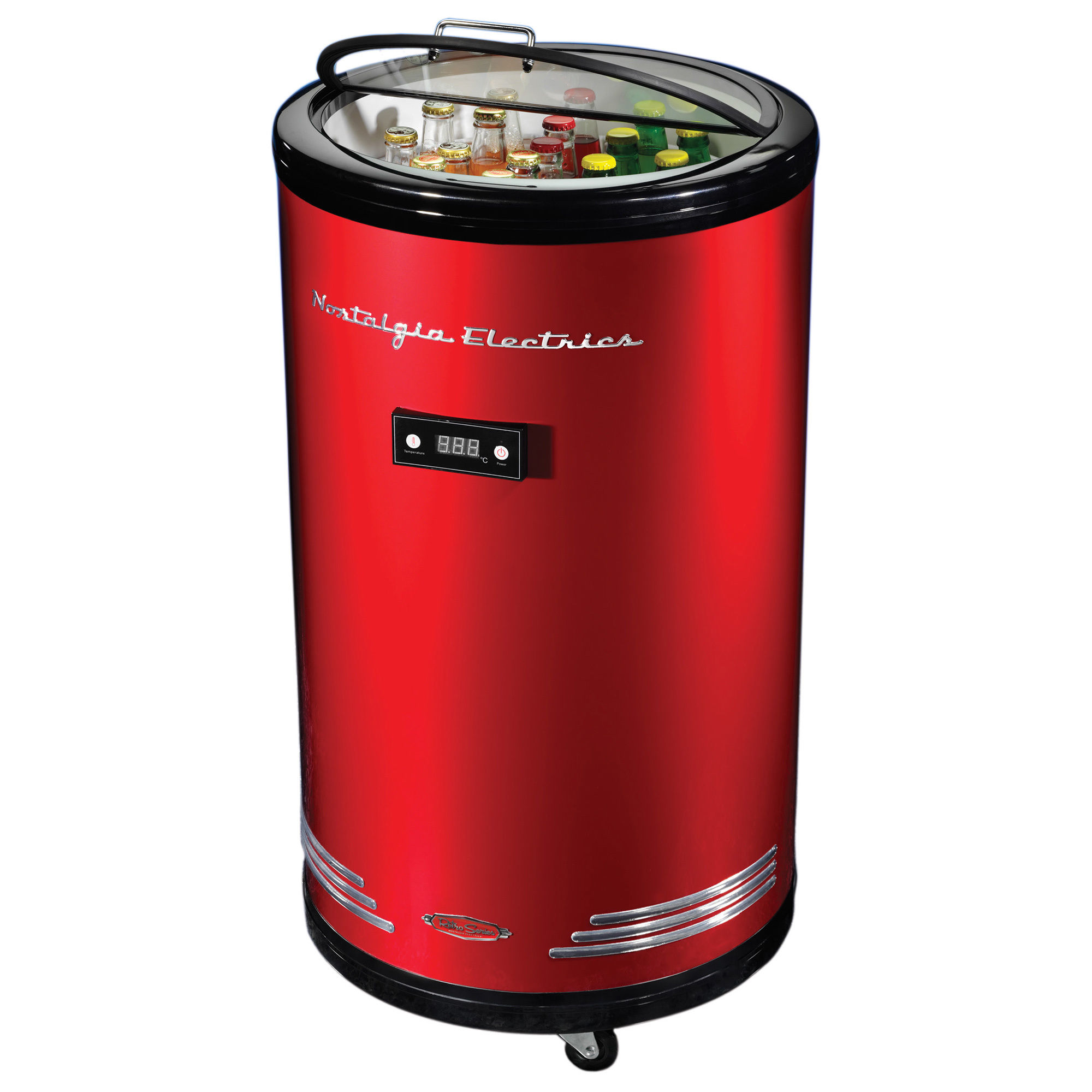 Retro Series 60-Can Party Cooler Fridge- Red