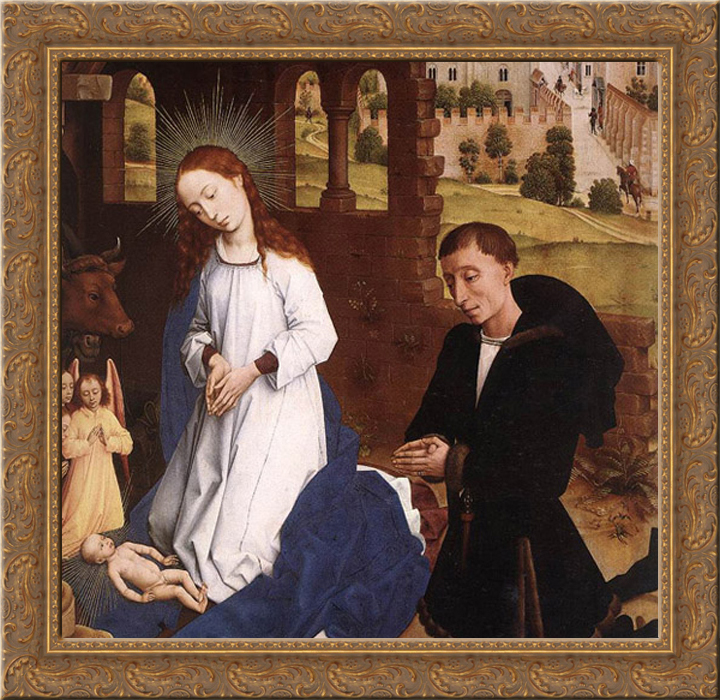 Bladelin Triptych: central panel [detail: 1] 20x20 Gold Ornate Wood Framed Canvas Art by Weyden, Rogier van der