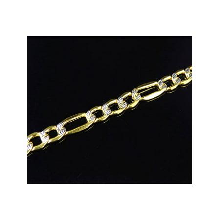 Ladies 10K Yellow Gold Diamond Cut Italian Figaro Link Style Bracelet 5MM 8-9
