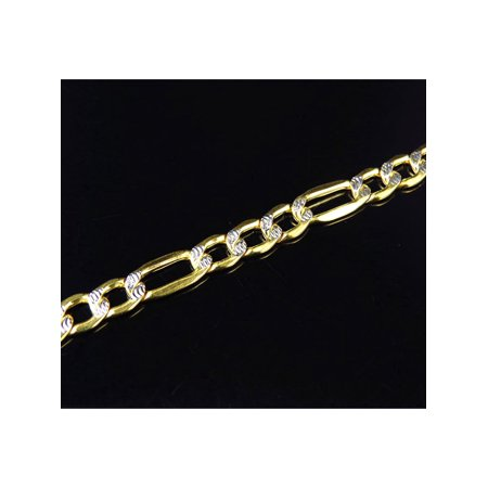 Ladies 10K Yellow Gold Diamond Cut Italian Figaro Link Style Bracelet 5MM 8-9
