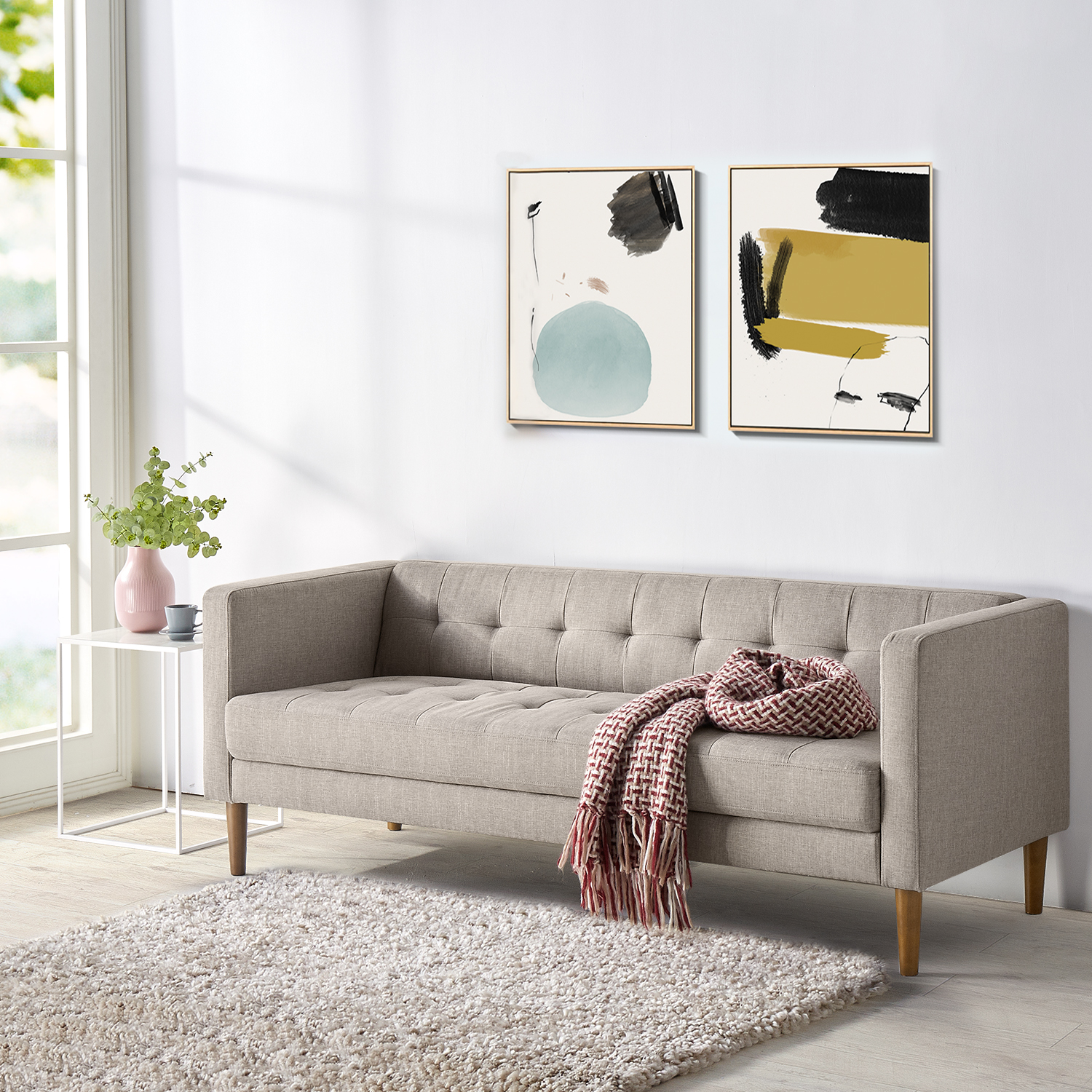 Woven Paths 73 Sofa Oatmeal Grey Walmart Com Walmart Com