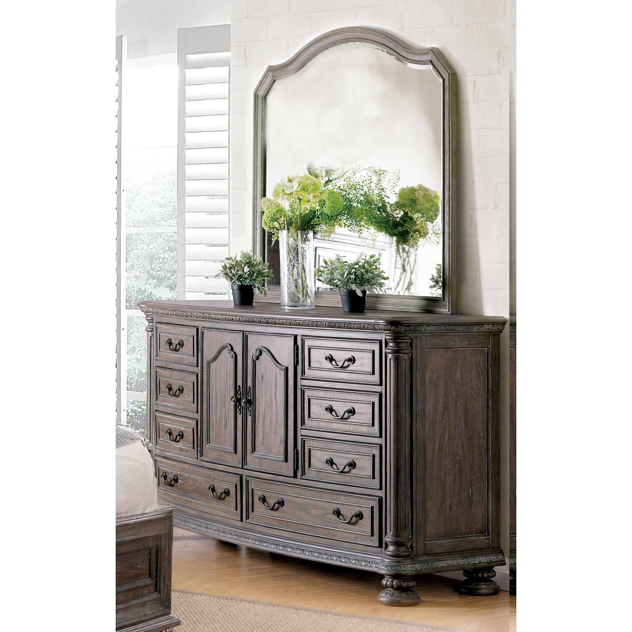 Furniture of America  Brigette II Traditional 2-piece Shabby Rustic Dresser and Mirror Set
