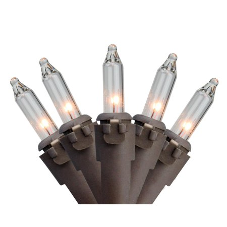 """Set of 35 Clear Mini Christmas Lights 2.5"""" Spacing - Brown Wire"""