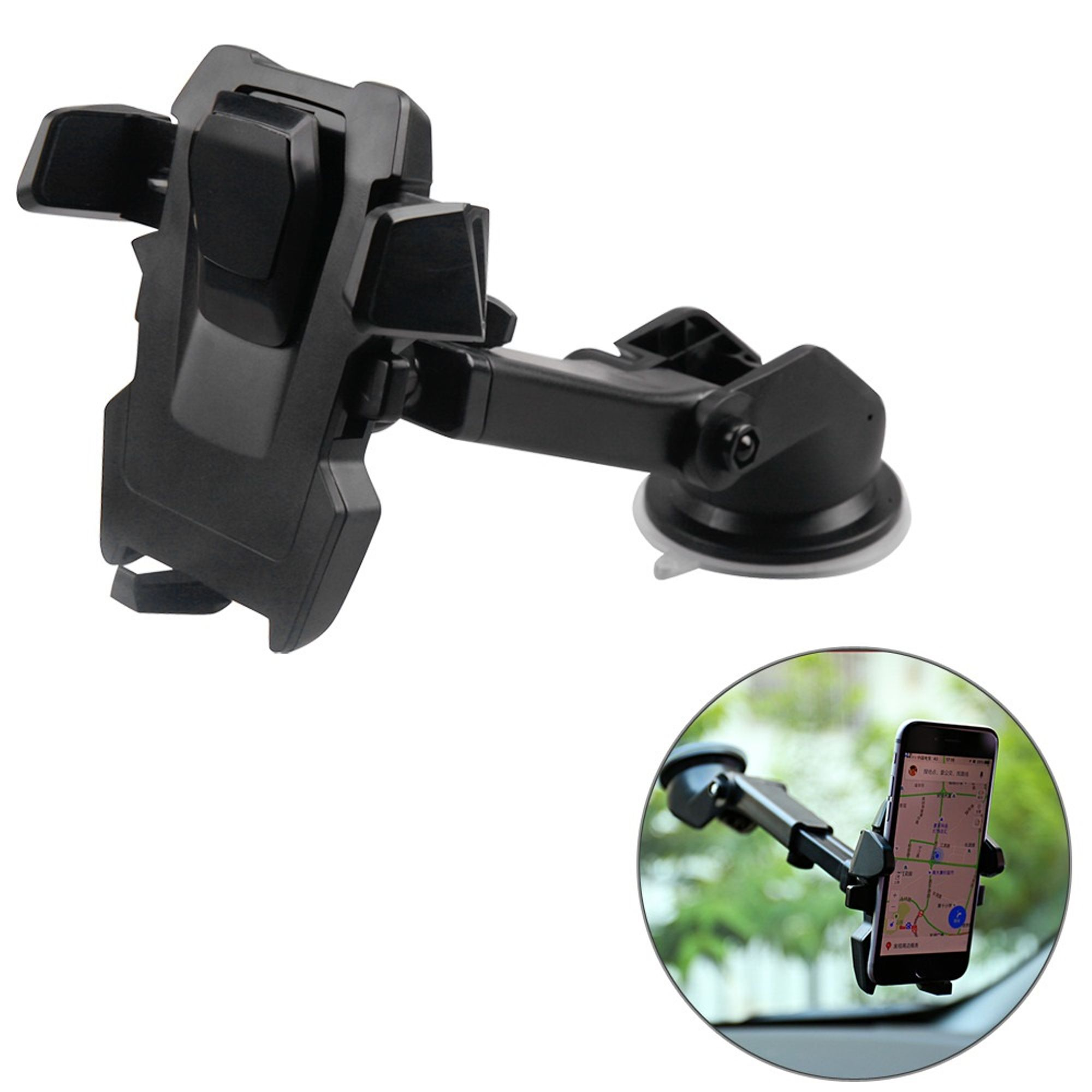 Universal 360° Rotation Car Mount Cell Phone Holder GPS Stand One Touch Black