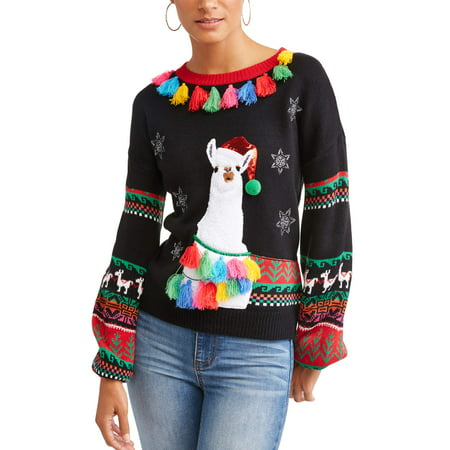 Llama Christmas Sweater.Holiday Time Women S Ugly Christmas Llama Sweater