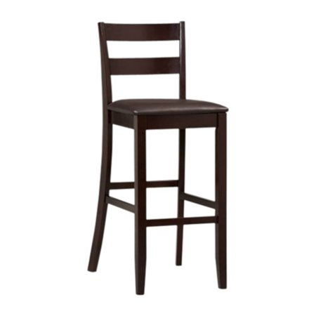 Linon Triena Collection Soho Wood Espresso Bar Stool, 30 inch seat - 25 Inch Round Stool
