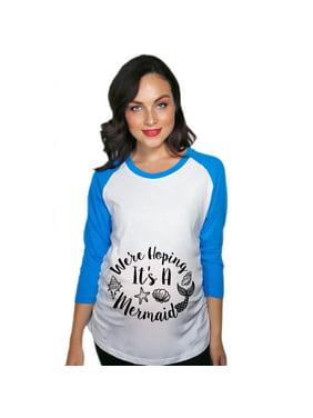 a49803cf ... by Crazy Dog Tshirts. Free shipping. Product Image Maternity Raglan  Were Hoping it's a Mermaid Funny Fantasy Pregnancy Baseball Tee