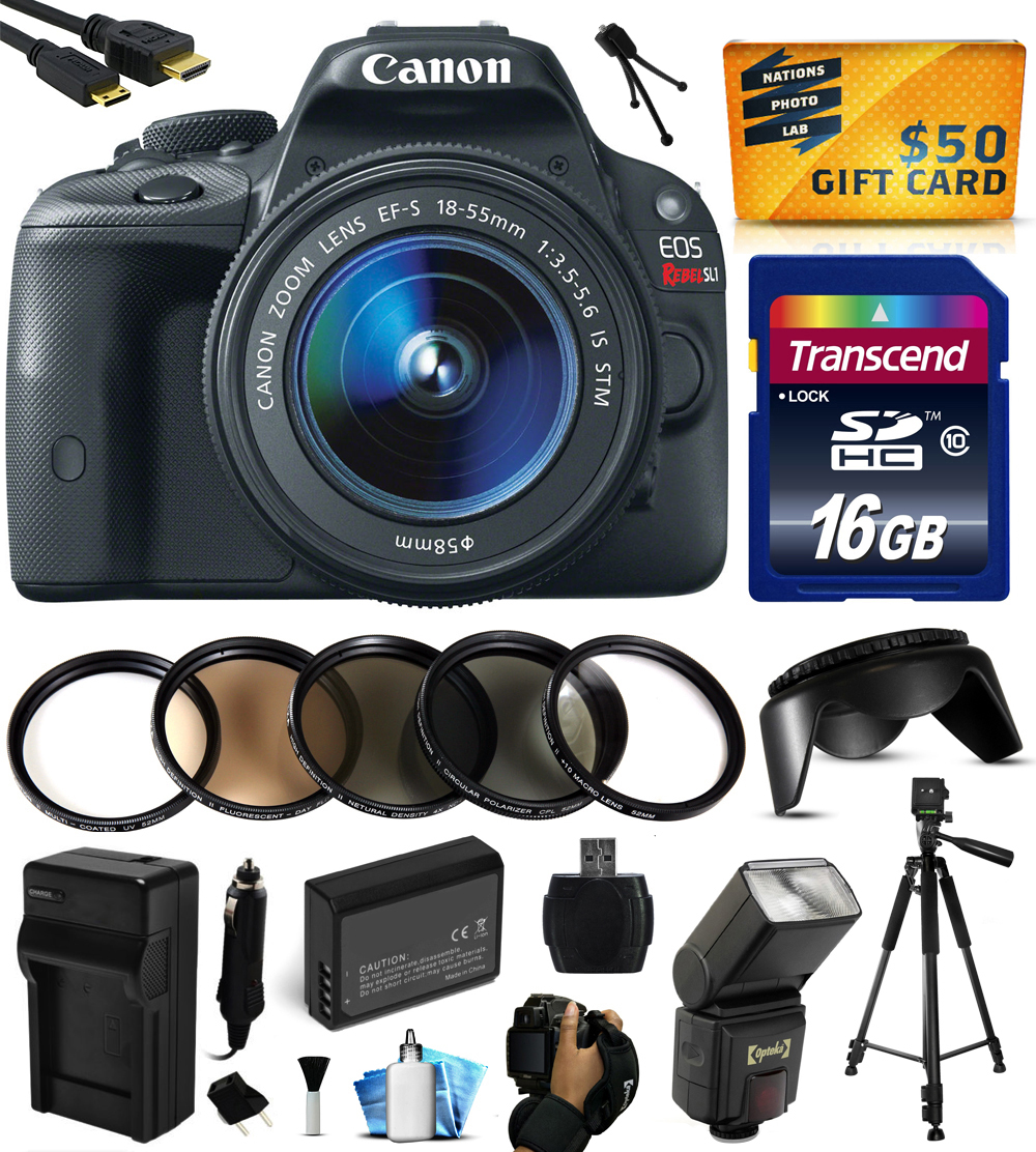 Canon EOS Rebel SL1 Digital SLR with 18-55mm STM Lens with 16GB Memory, Flash, Battery, Travel Charger, Lens Hood,5 PC Filters, Hand/Wrist Grip Strap, HDMI Cable, Cleaning Kit, $50 Gift Card 8575B003
