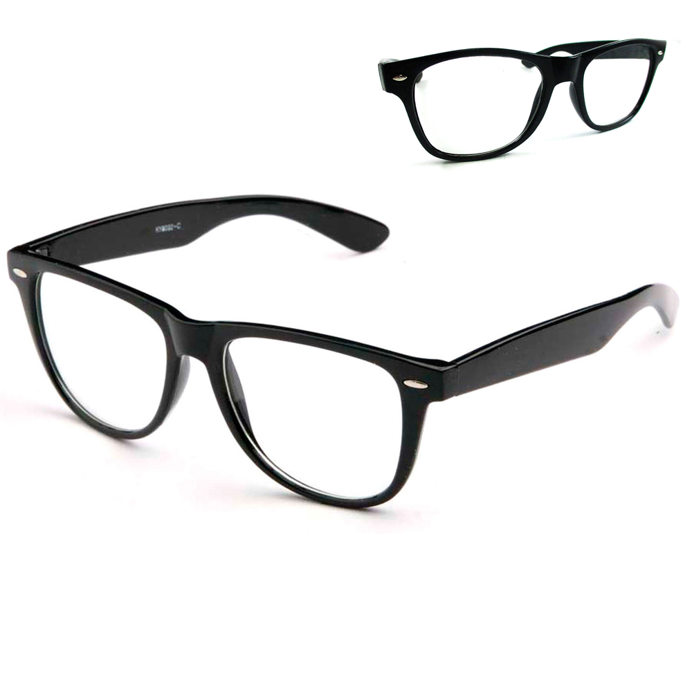 f987c1b0ba0 Black Nerdy Geek Old School Clear Lens Horn Rim Eye Glasses Plastic Frame  New - Walmart.com