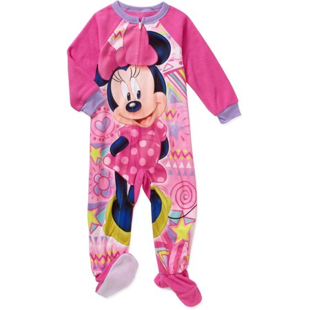 Minnie Mouse - Toddler Girls  Micro Fleece Footed PJ - Walmart.com a1529ad98