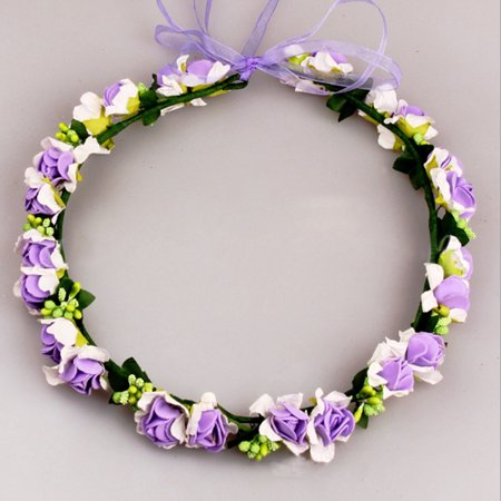 Elegant Bridal Wreath Flower Headband Hair Band Floral Crown Garland for Festival Wedding Beach - Purple for $<!---->