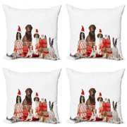 Christmas Throw Pillow Cushion Case Pack of 4, Several Pets with Surprise Christmas Presents Dogs Cats and Rabbits, Modern Accent Double-Sided Print, 4 Sizes, Brown Red White, by Ambesonne