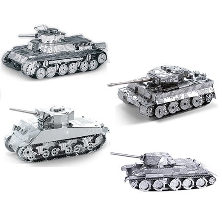 Metal Earth 3D Model Kits - Tanks Set of 4 - Tiger 1, T-34, Chi-Ha and Sherman