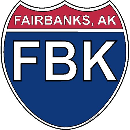 3.8 Inch US Interstate Sticker Fairbanks Alaska (Fairbanks Replacement)