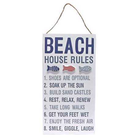 Nautical Beach House Rules Wall Sign w/ Tropical Fish (House Rules Signs)