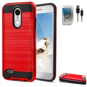 Phone Case forAT&T PREPAID LG Phoenix 4, Tracfone LG Rebel 4 Case, Straight Talk Rebel 3, Aristo 2 Plus Shockproof Cover Screen Protector USB Cable (Slim Brush Red / USB / Film)