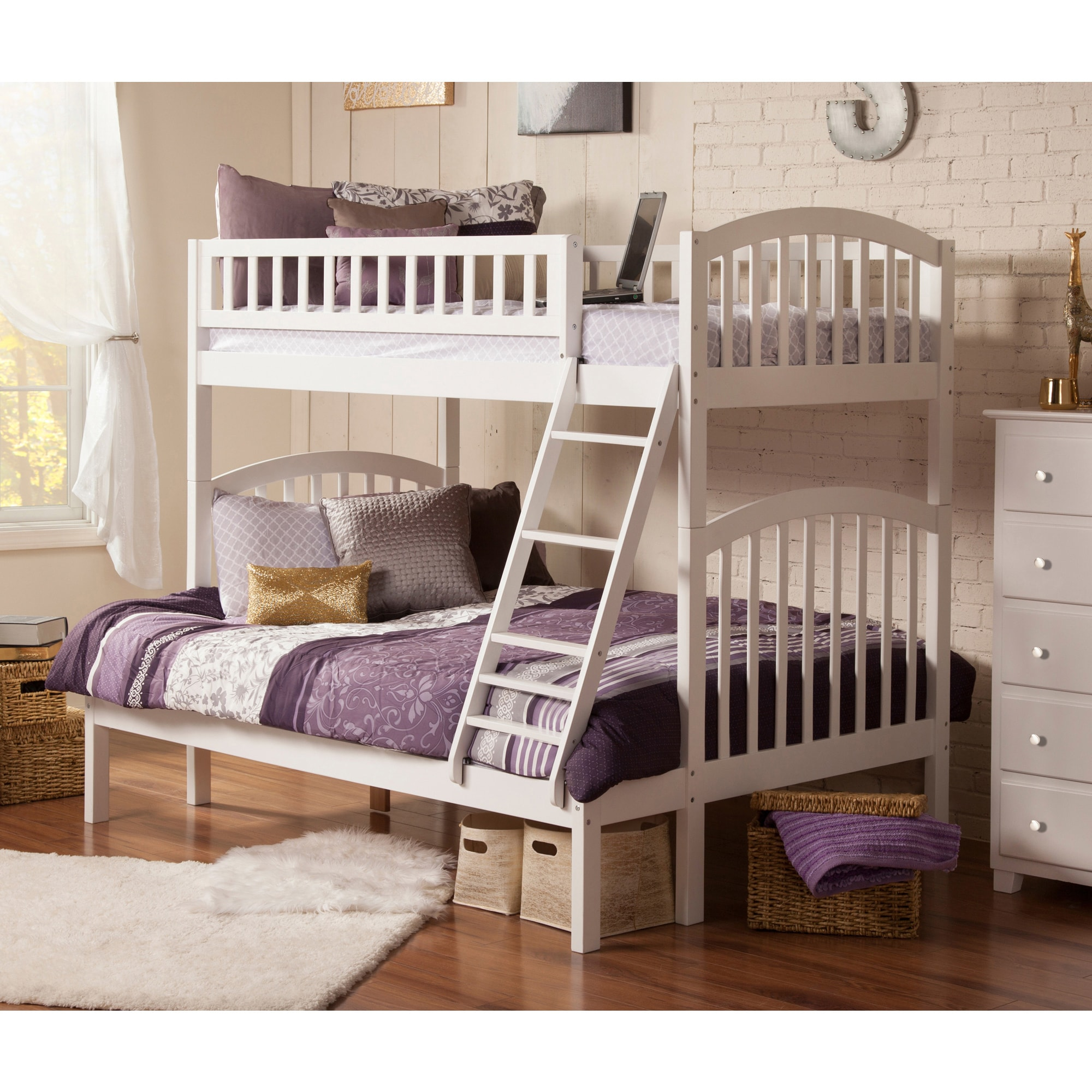 Atlantic Furniture Richland White Wood Twin-over-full Bunk Bed