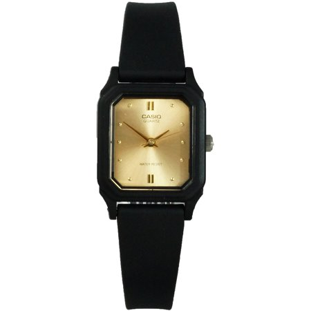 Casio LQ142E-9A Women's Classic Water Resistant Black Analog Watch w/ Gold (White Dial Water Resistant Watch)