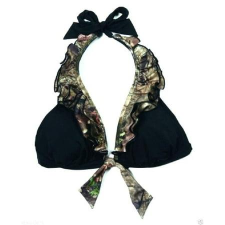 Womens Camo Mossy Oak Breakup Country Ruffled Halter Swim Top – Small (Camouflage Ruffle)