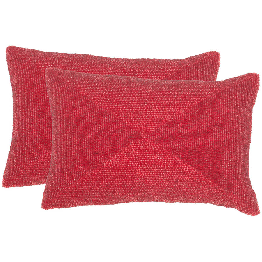 "Safavieh Ruby 12"" x 18"" Satin Red Pillow, Set of 2"