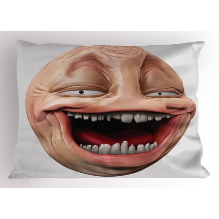 Humor Pillow Sham Poker Face Guy Meme Laughing Mock Person Smug Stupid Odd Post Forum Graphic, Decorative Standard Size Printed Pillowcase, 26 X 20 Inches, Peach and Pearl, by Ambesonne Peaches Mock Wrap