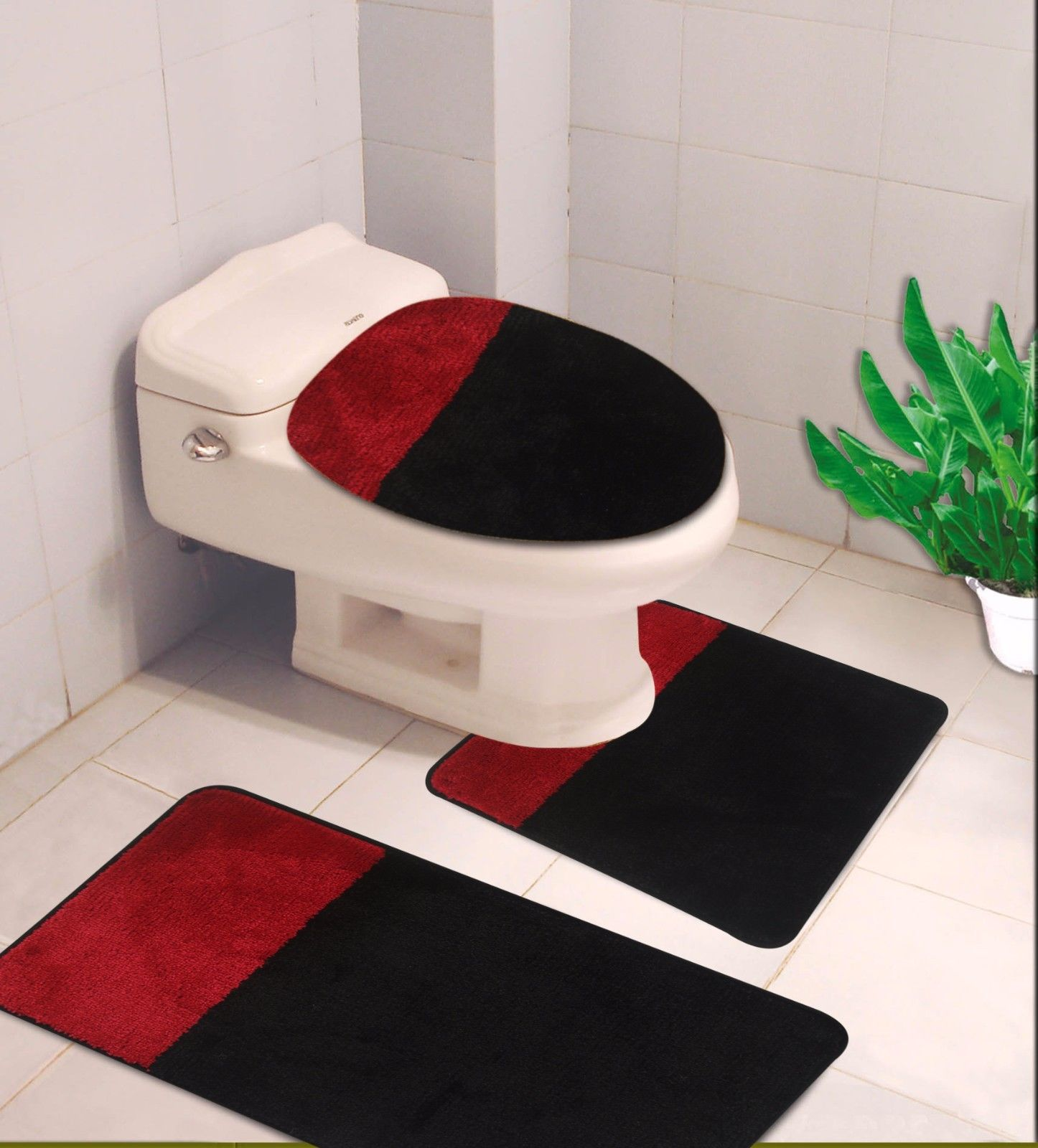 "3-PC (#7) 2 Tone Black/Red HIGH QUALITY Jacquard Bathroom Bath Rug Set Washable Anti Slip Rug 18""x28"", Contour Mat 18""x18"" and Toilet Seat Lid Cover 18""x19"" with Non-Skid Rubber Back"