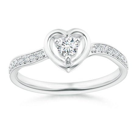 April Birthstone - Twist Shank Open Heart Round Diamond Promise Ring in 14K White Gold (Weight: 0.14ctwt)