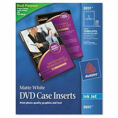 Avery Inkjet DVD Case Inserts, Matte White, 20/Pack (AVE8891)