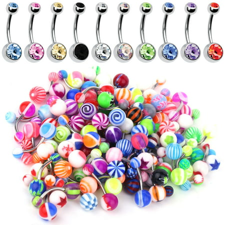 60PC Belly Button Ring Set 14G Mix CZ Steel Acrylic Bioflex Banana Bar Body Piercing (Best Belly Piercing Jewelry)