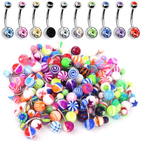 60PC Belly Button Ring Set 14G Mix CZ Steel Acrylic Bioflex Banana Bar Body Piercing Jewelry