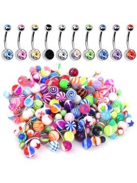 60PC Belly Button Ring Set 14G Mix CZ Steel Acrylic Bioflex Banana Bar Body Piercing Jewelry