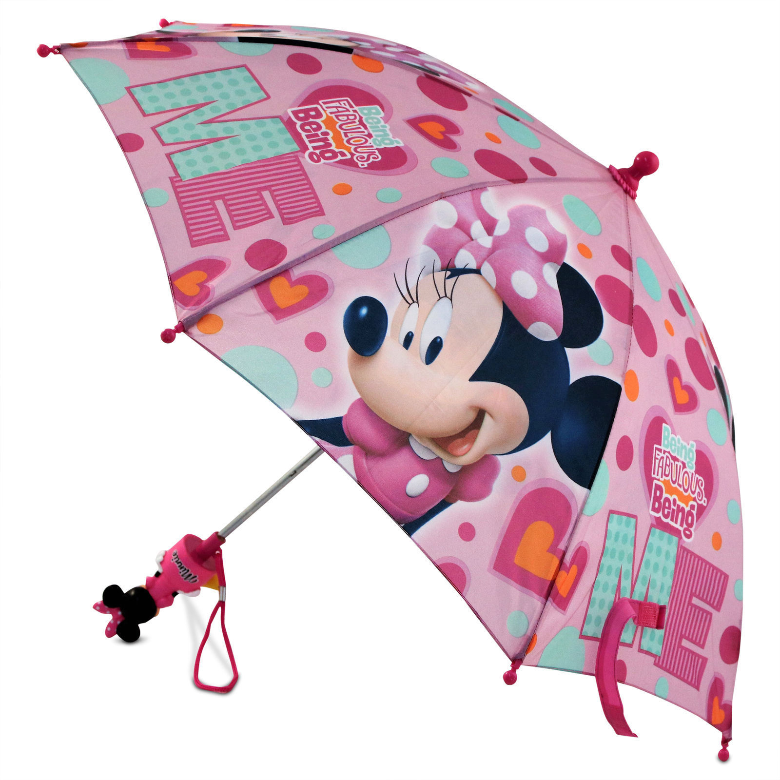 Minnie Mouse Figure Molded Handle Umbrella for Toddler Girl Kid Sized 3-7