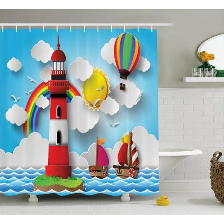 Lighthouse Shower Curtain Kids Coast With Sailboats Sun Rainbow Hot Air Balloon Clouds Playroom Cartoon Fabric Bathroom Set Hooks 69W X 84L Inches