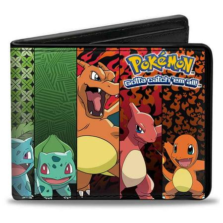 Wallet Bifold PU Kanto Starter Pokemon Evolution Panels Pokemon