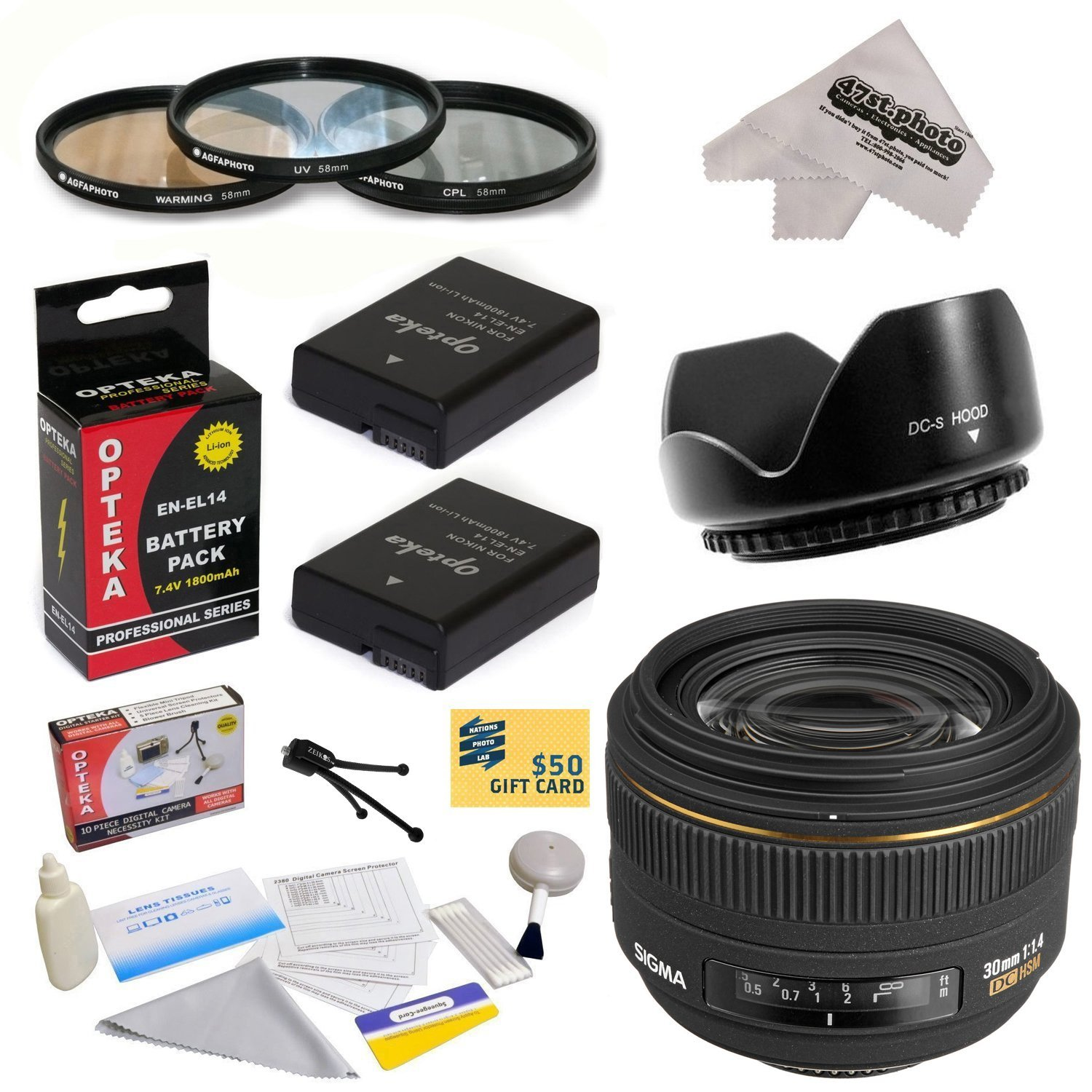 Sigma 30mm f/1.4 EX DC HSM Autofocus Lens for Nikon with 62MM 3 Piece Filter Kit, Flower Lens Hood, EN-EL14 Batteries, Cleaning Kit, Mini Tripod, 47stphoto Microfiber Cloth