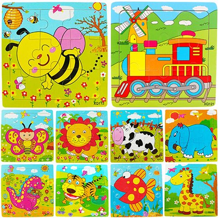 Directer Multicolor Animals Wooden 9 Pieces Colorful Jigsaw Puzzle Toy Toddler for - Puzzles For Preschoolers