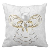 ARTJIA White Holiday Pearls and Gold Metallic Christmas Angel of Decorated Pillowcase Cover 20x20 inch